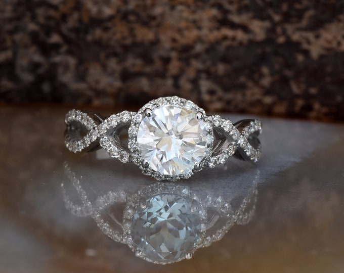 Celtic diamond engagement ring-Halo Engagement ring-Promised ring-Gold ring-Bridal ring-Infinity ring-Diamond engagement ring-Holiday SALE!!