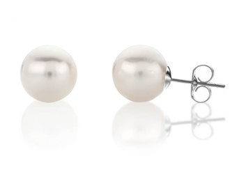 Pearl studs-Freshwater Pearl Earrings 8 mm-Minimalist pearl earrings-White Gold-Bridal Earrings-Wedding Jewelry-Bridal jewelry-Birthday gift