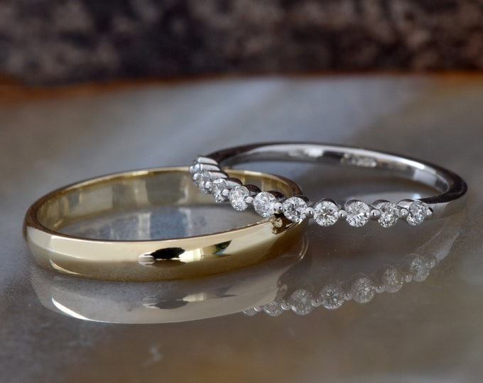 His and her rings- Eternity diamond wedding band- For him and her ring-Matching Wedding Bands