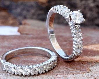Cluster Wedding set-2 carat diamond wedding set-14K white Gold-Promise ring-Art deco wedding set-Diamond engagement ring-FREE SHIPPING