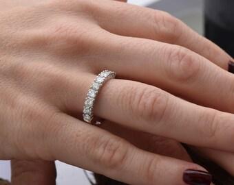 Cluster wedding band-Eternity Wedding Band-Diamond ring-Diamond Band-Anniversary Gift-Half-Eternity Ring-multistone ring-wedding ring