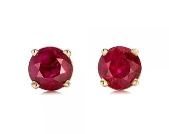 Ruby stud earrings 1/2 carat-Red ruby-Handmade Ruby stud earrings-14 k Yellow gold earnings-Natural  Ruby-July Birthstone-Xmas gift