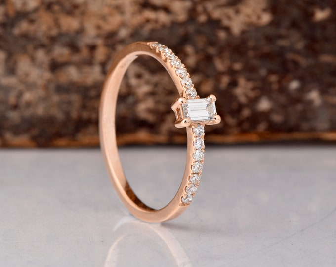 Baguette ring-Diamond Engagement Ring -Rose Gold Ring-Promised ring-Cluster engagement ring-Half eternity band-Bridal Minimalist-For her