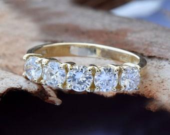 1 carat Diamond Eternity Band-Wedding band-Diamond Band-Anniversary Gift - Half eternity Ring-Minimalist ring-Art deco ring-Anillo de bodas