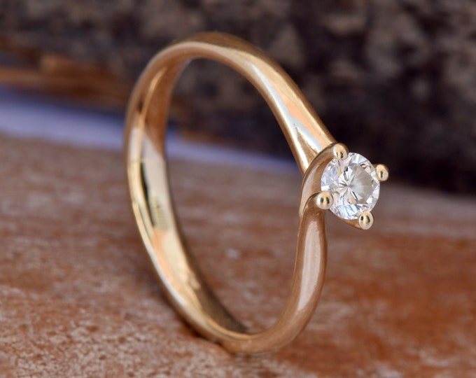 Twist diamond engagement ring-Art deco engagement Ring-Promise ring- FREE SHIPPING-Celtic knot ring