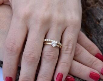 Bridal set rings yellow gold-Diamond wedding set 1.50 carat-Cluster wedding ring set-Promise ring-Art deco wedding ring set-Custom ring