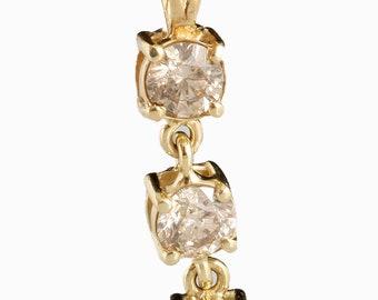 Gold Diamond Pendant -14K Yellow Gold Pendant-Three stones Pendant-0.60 ct pendant-Fashion Jewelry-Anniversary gift-Graduation present