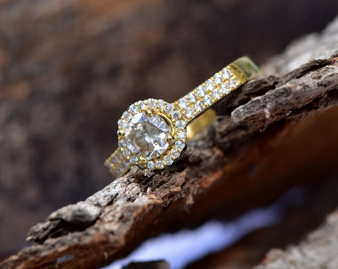 Champagne engagement ring-Diamond Engagement Ring -Gold halo ring-Halo diamond engagement ring -Gold ring-Art deco engagement ring