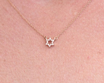 Diamond pendant-Custom necklace -Jewish star-Magen David-Gold Choker-Diamond necklace-Fashion jewelry-Delicate Necklace-For her gift