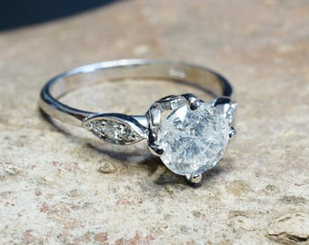 ON SALE!!! 1 ct Diamond Engagement Ring-White Gold Engagement Ring-Cluster engagement ring-Promise ring-Bridal ring-Art deco engagement ring