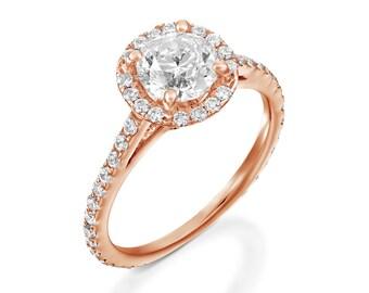 Moissanite engagement ring rose gold-Art deco engagement ring-Halo Engagement Ring-Rose Gold Ring-Charles & Colvard Moissanite -Promise ring