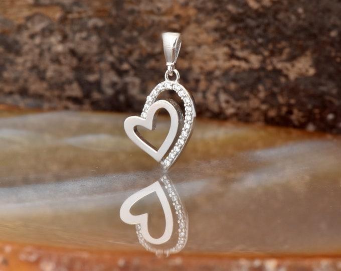 Heart necklace-Heart charm-Zircon pendant-Fashion necklace-Gold Pendant -Women Jewelry-Anniversary gift-Wedding Necklace-Birthday present
