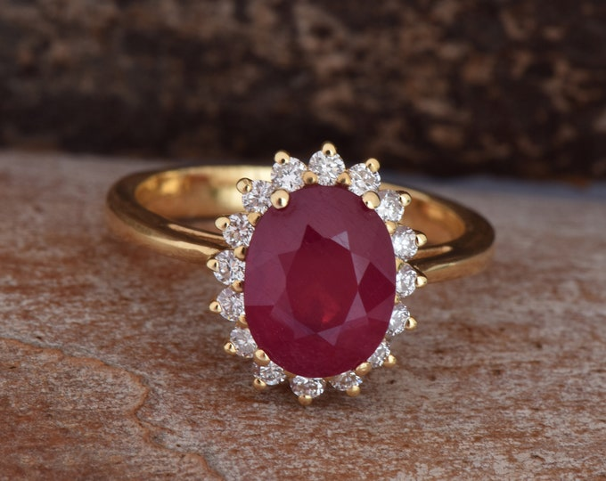 3 carat oval Ruby diamond ring with Ruby-ON SALE!!! -Engagement Ring-Ruby engagement ring-Multistone ring-Ruby ring vintage-Promise Ring