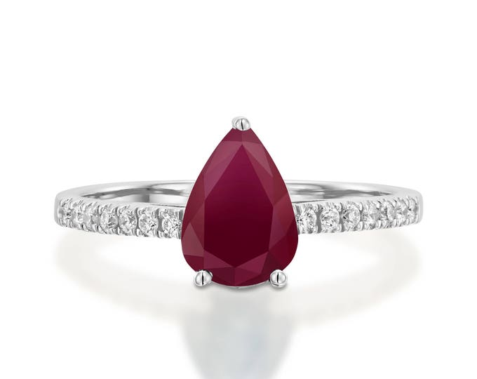 Red Ruby Diamond Engagement Ring -Gold Ring-1 carat Ruby Engagement Ring -Birthstone ring-Promised ring-Ruby ring-Pear Ruby ring-For her
