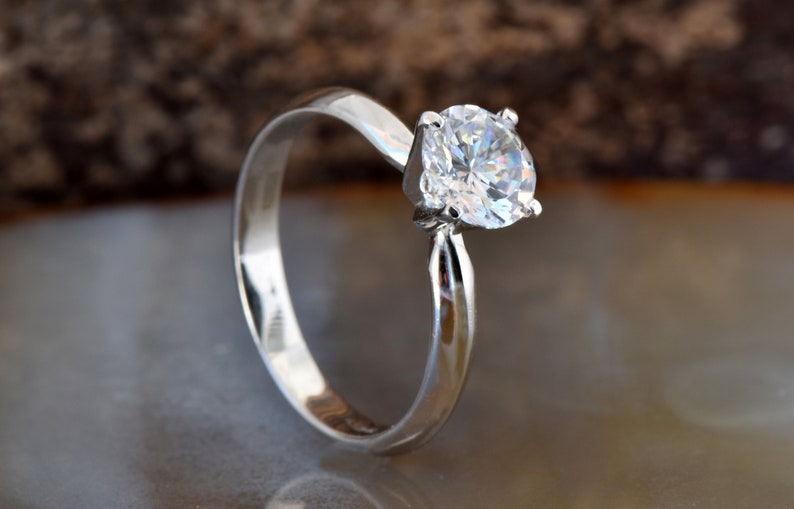 Solitaire ring 1 carat-Diamond Engagement Ring-Diamond image 0
