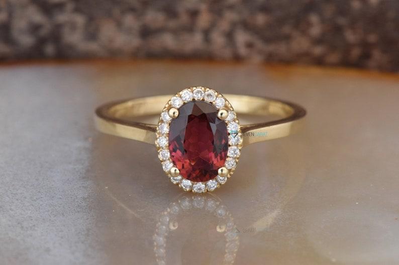 Tourmaline Diamond Engagement Ring  Yellow Gold Ring red image 0