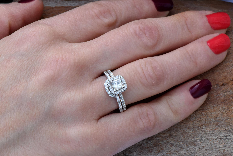 Cushion Cut Engagement Ring Set White Gold Promise Ring Art Deco