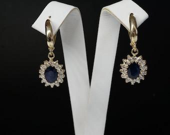 2 carat Blue Sapphire Earrings-Diamond Earrings with Sapphire-Sapphire Drop Earrings-Cluster earrings-Vintage earrings -Gift for her