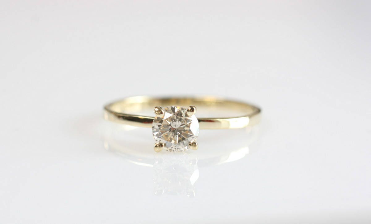 1 2 Carat Solitaire Ring Diamond Engagement Ring Yellow Gold Ring