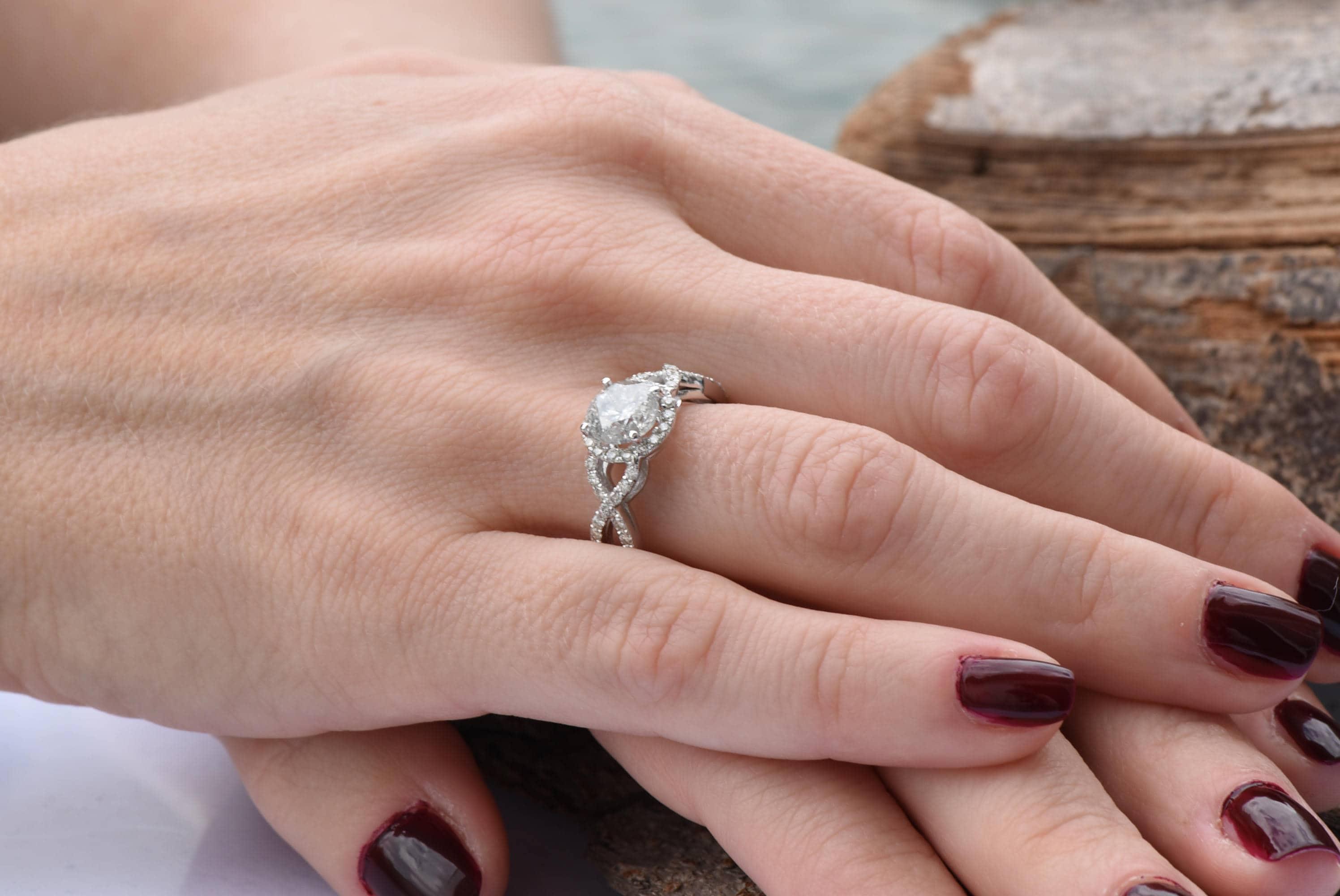 Celtic diamond engagement ring-Halo Engagement ring-Promised ring ...