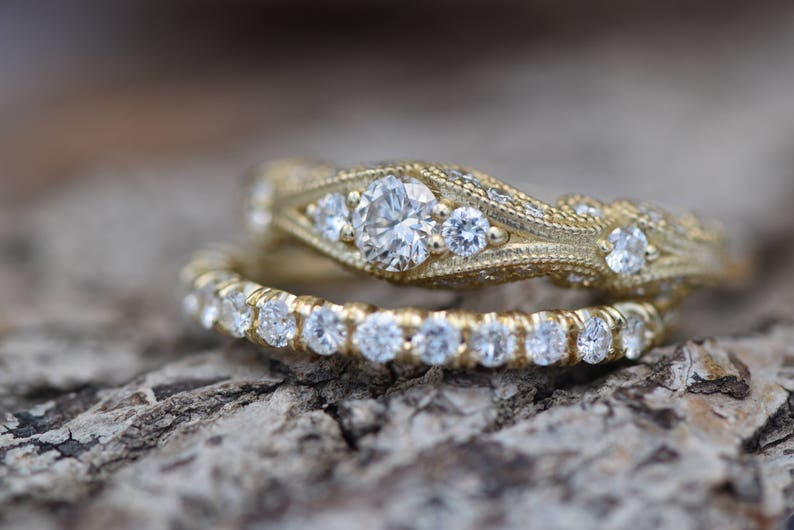 Filigree engagement wedding set-Diamond Bridal set-Gold Ring image 0