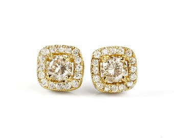 Art deco stud earrings-Diamond earrings-Yellow gold stud earrings-Anniversary gifts-Gift for Her-Birthday gift for her-Holidays gift