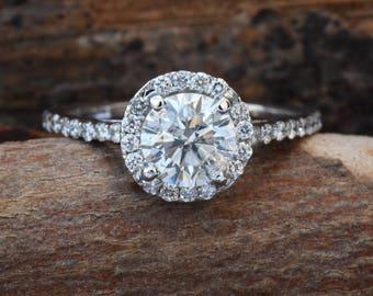 Art deco diamond Engagement Ring-ON SALE!! -Gold halo ring-Halo diamond engagement ring -Cluster engagement ring -Gold ring-Diamond ring