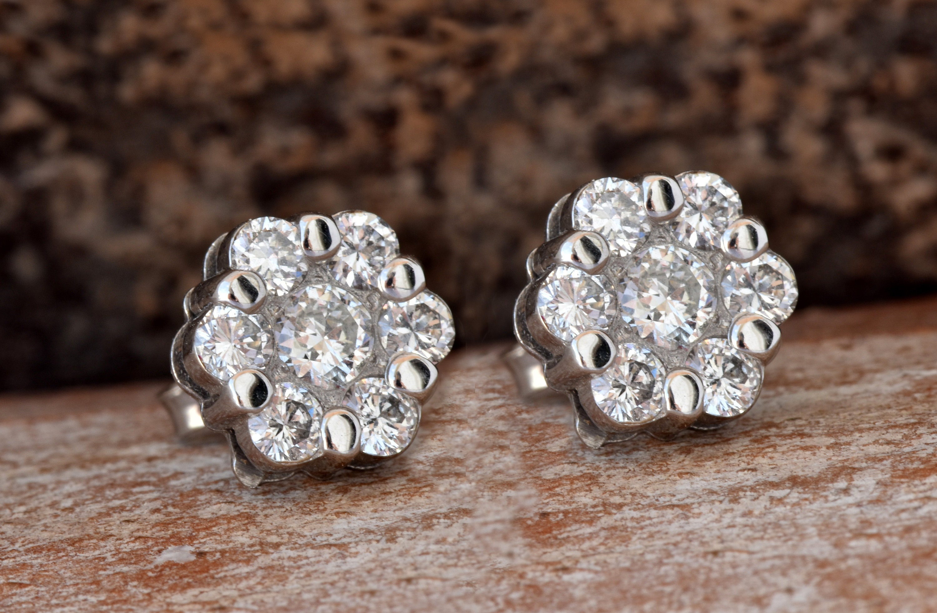 Flower diamond earrings 1 20 carat Gold Diamond Earrings 14K