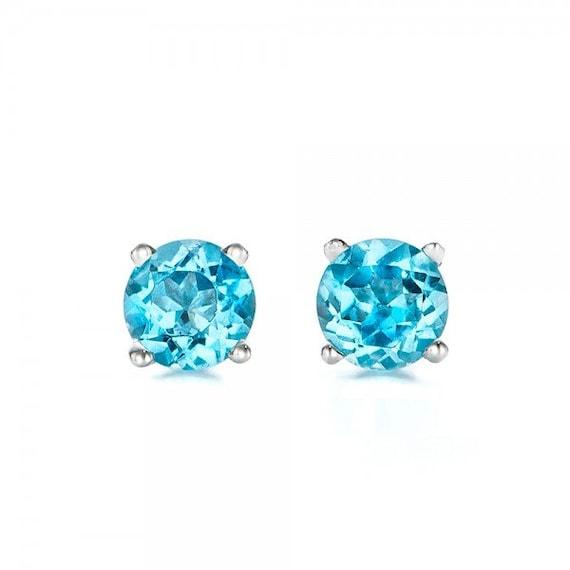 481bf39ff Blue topaz earrings studs 1/2 carat-Blue topaz-Natural blue | Etsy
