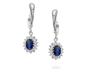 Cluster earrings-Blue Sapphire Earrings-Diamond Earrings with Sapphire-Sapphire Drop Earrings-Women's Jewelry-Vintage earrings-Gift for her