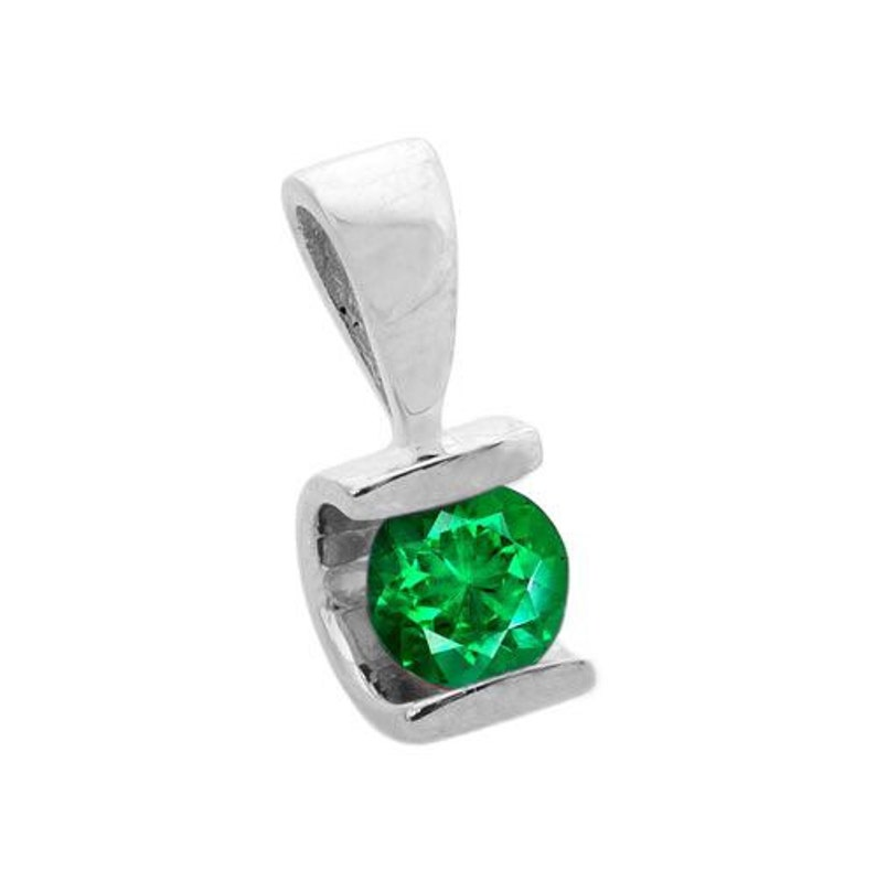 0.60 ct Emerald Pendant-Emerald necklace-White Gold Pendant image 0