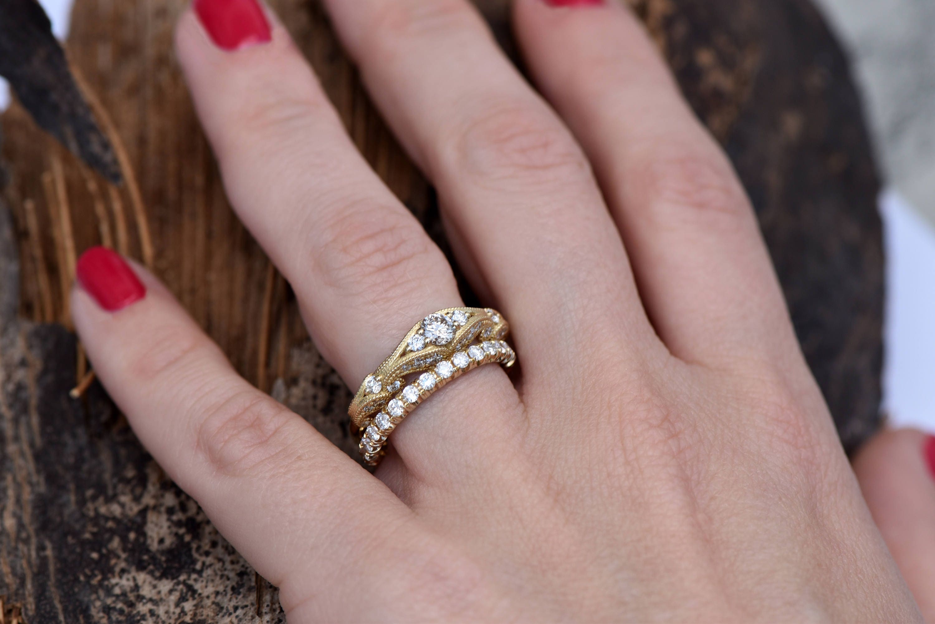 Filigree engagement wedding set-Diamond Bridal set-Gold Ring ...