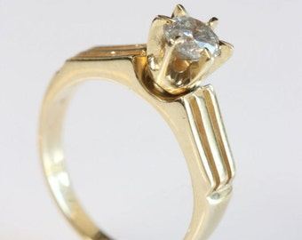 Solitaire diamond ring-Diamond Engagement Ring-Solitaire engagement diamond ring-14K Yellow Gold Ring-0.60 ct-Promise ring-For her jewelry