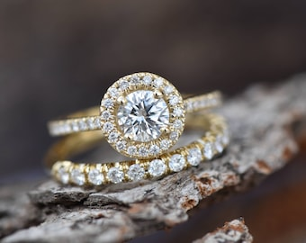 1.50 carat Halo diamond engagement wedding sets-Diamond wedding set-14K white Gold-Promise ring-Diamond engagement ring-Wedding band