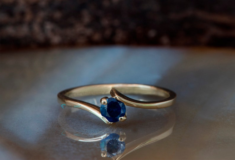 Sapphire solitaire ring-Sapphire promise ring dainty-Dainty image 0