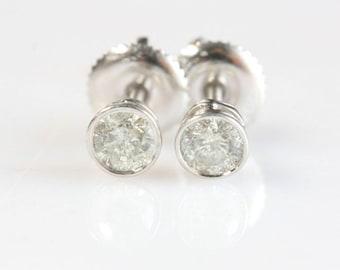 1/2 carat Gold Diamond Earrings-14K White Gold Earrings-Stud Earrings-Men jewelry-For him-baby earring-Girls earrings-Birthday present