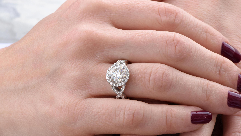 2ct Moissanite ring-Moissanite halo Engagement Ring-Celtic ...
