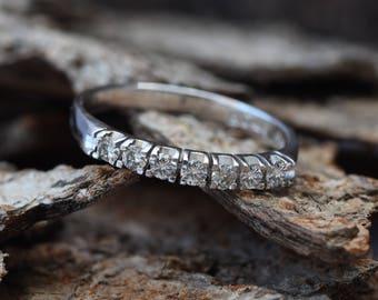 Eternity Wedding Band-Diamond Engagment Ring-wedding band white gold -Diamond Band, Anniversary Gift - Half-Eternity Ring-wedding band women