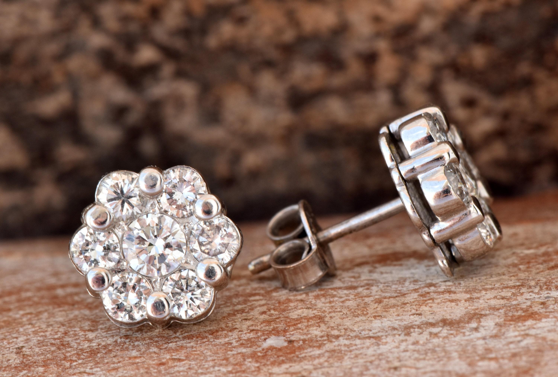 Flower diamond earrings 1 20 carat Gold Diamond Earrings 14K White