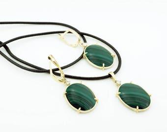 Inspiration bohemian necklace-Malachite necklace-Malachite earrings-Malachite set-Birthday gift-Anniversary gift-Mom gifts-For grandmother