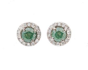 Emerald stud earrings-Gold diamond earrings-Green Emerald diamond earrings-Gift for her- Anniversary present-Birthday gift-Cluster earrings