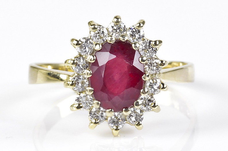 Ruby engagement ring-Diamond ring with Ruby-Engagement Ring image 0