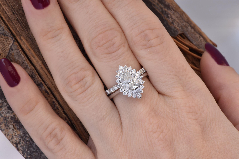Cluster Wedding Ring Set Baguette Wedding Bands Diamond Engagement