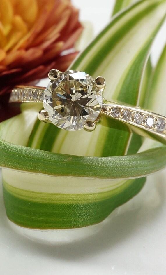 b51a933584 ON SALE 1 carat Diamond Engagement Ring Yellow Gold | Etsy