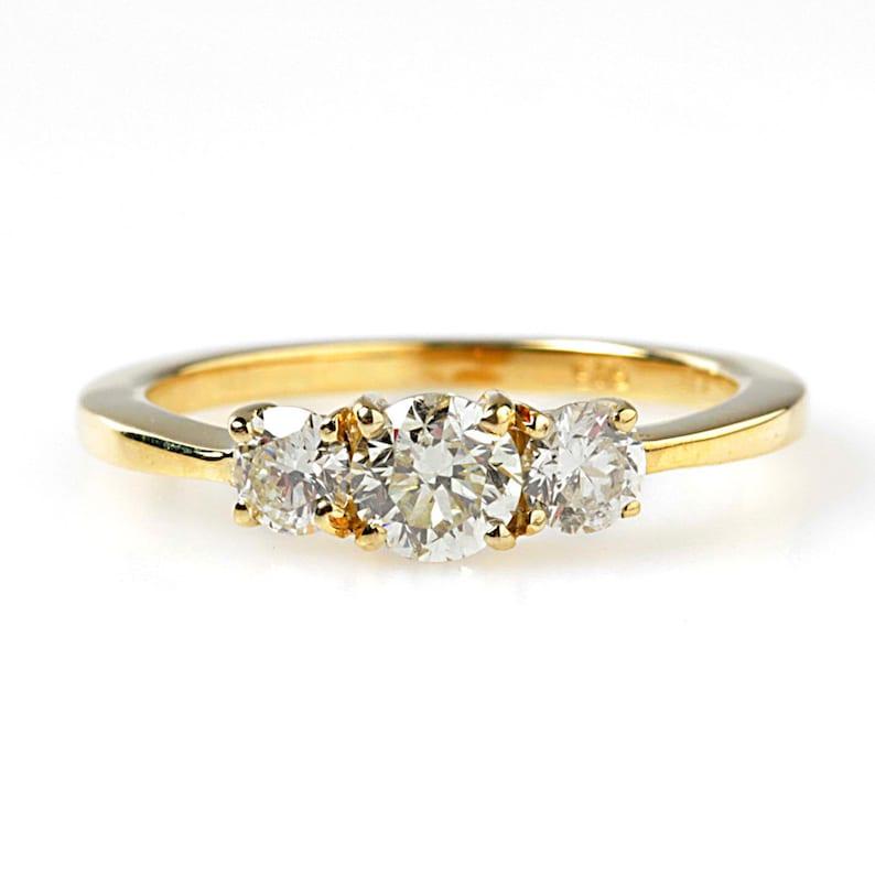 Multistone  Engagement Ring Yellow Gold Engagement-Diamond image 0