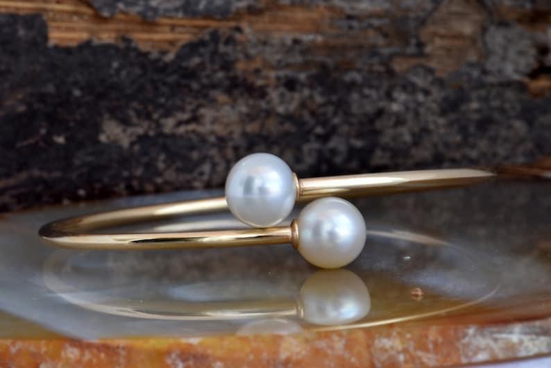 Pearl bracelet freshwater-14 K Yellow Gold-Bridal image 0