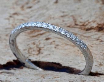 Diamond Eternity Wedding Band-Wedding band-Diamond Band-Anniversary Gift-Half-Eternity Ring-Minimalist ring-FREE SHIPPING-Anillo de bodas