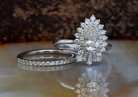 Bridal Sets Wedding Rings Cluster Wedding Ring Set 14k White Etsy
