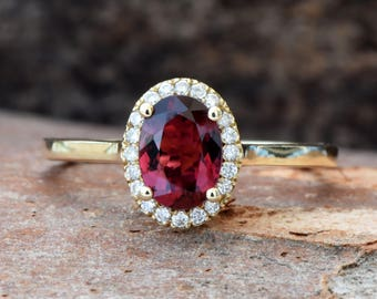 Tourmaline Diamond Engagement Ring - Yellow Gold Ring -red tourmaline Engagement Ring-Wedding & Engagement-tourmaline ring-promise ring-