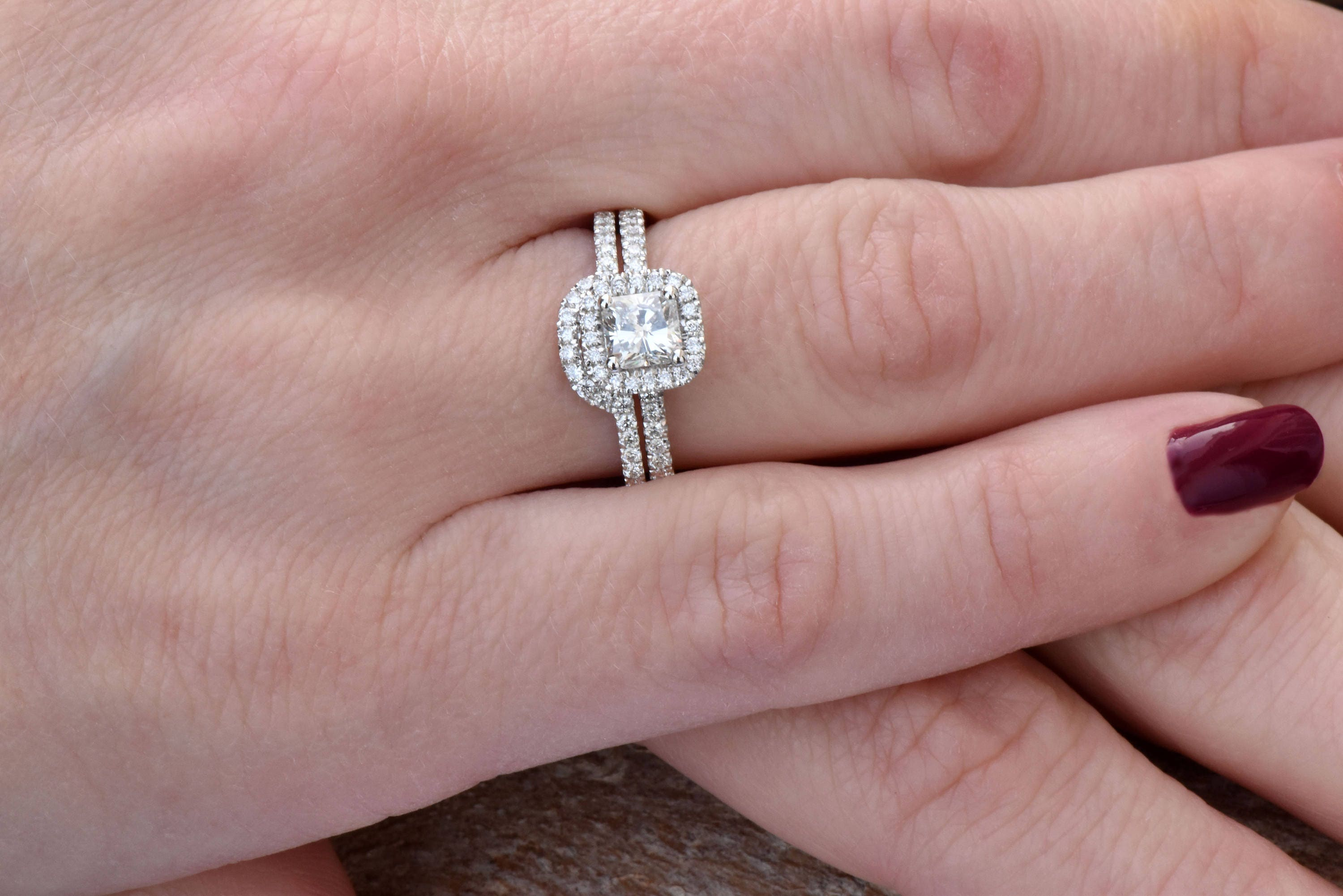 Cushion cut engagement ring set-White Gold-Promise ring-Art deco ...